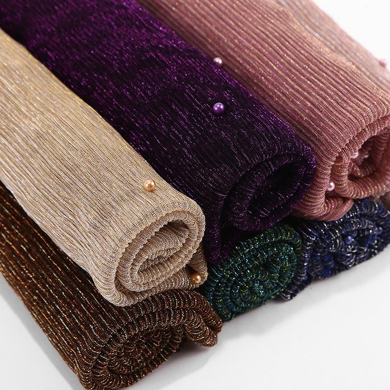 NEW shimmer veils hijab scarf shiny pearls beaded crinkle shawl  fashion muslim hijabs women maxi scarves shawls islamic scarfWomens  Scarves