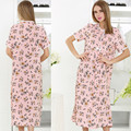 2017 moda primavera plus size camisola feminina 100% algodão sleepwear curto-manga longa salão rendas mulheres nightwear homewear