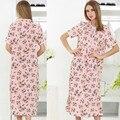 2017 spring fashion plus size long nightgown female 100% cotton sleepwear short-sleeve lounge lace women nightwear homewear