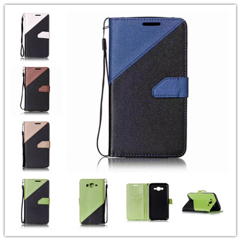 Hybrid Leather Phone Cover For Samsung Galaxy J7 Case Filp Cover Stand Blue Patchwork Color Wallet design Mobile Phone Case