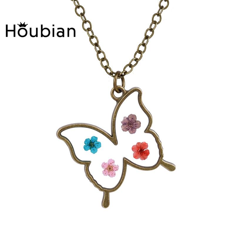 Vintage Butterfly sušené květiny přívěsek šperky Epoxy - Bižuterie