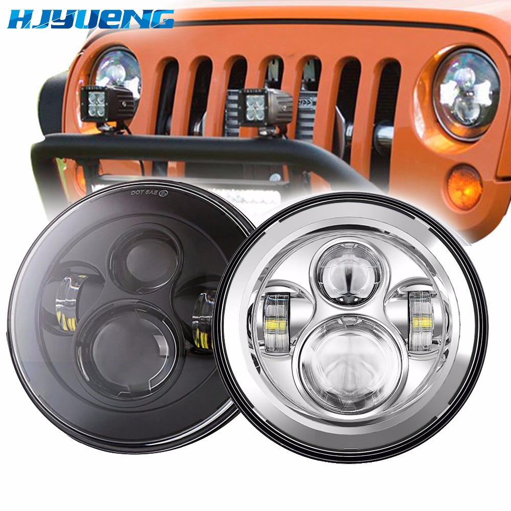 HJYUENG For Lada 4x4 urban Niva 7 black LED H4 headlight daymaker lamps headlamp for Jeep Wrangler JK TJ LJ Land Rover Defender