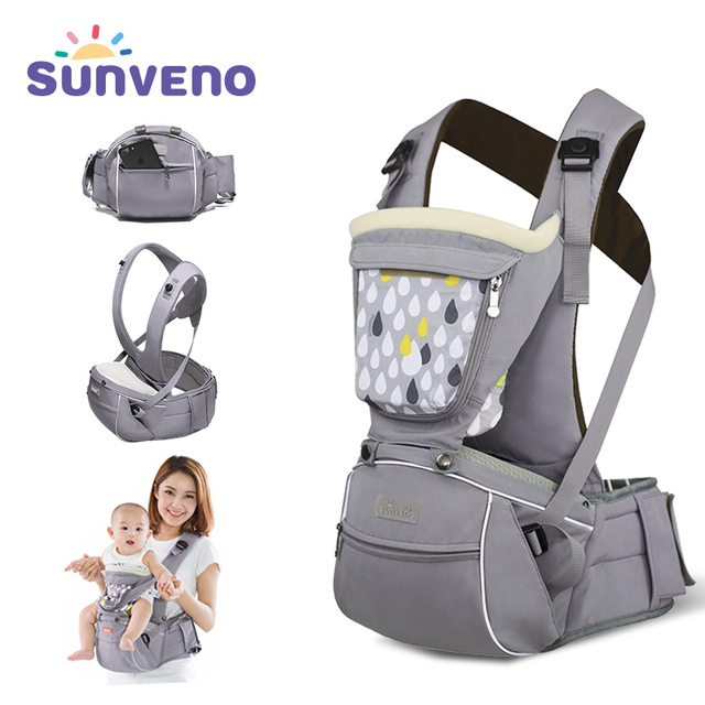 SUNVENO New Design Infant Toddler Ergonomic Baby Carrier with Hipseat For Baby Infant Toddler Kids 0-36M