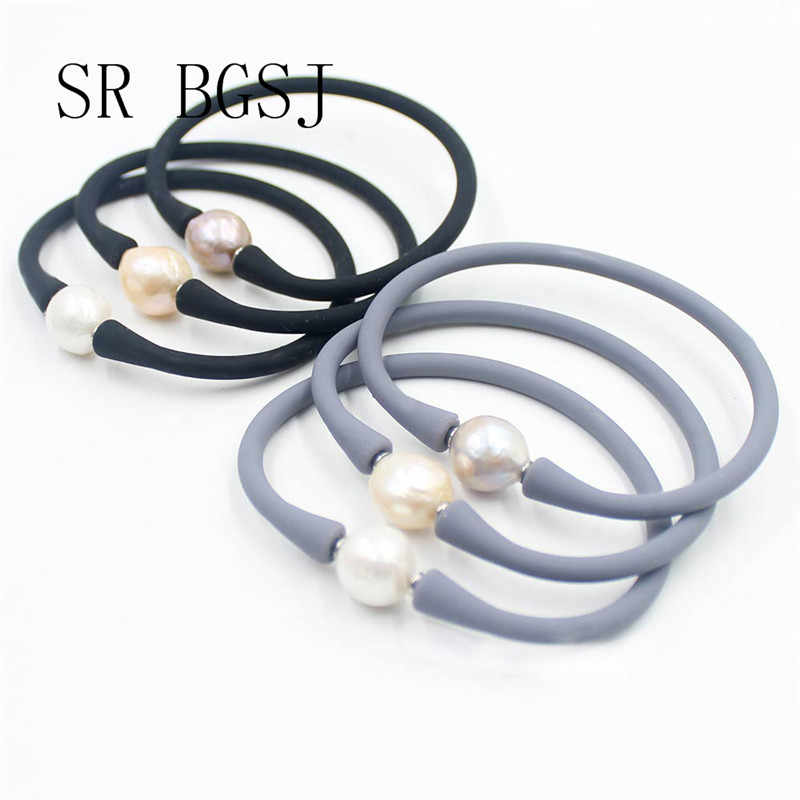 Free Shipping 10-11mm Women Men Edision Freshwater Pearl Bead Silicone Rubber Stretch Bracelet 7""