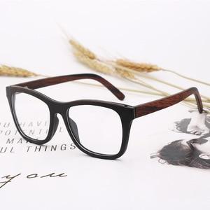 Image 2 - 100% 천연 나무 안경 프레임 남자에 대 한 목조 여성 광학 안경 케이스 56342 와 명확한 렌즈