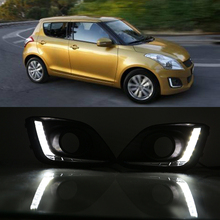 Car Flashing for Suzuki Swift 2014 2015 2016 12V LED CAR DRL Daytime running lights with fog lamp hole cover car styling white