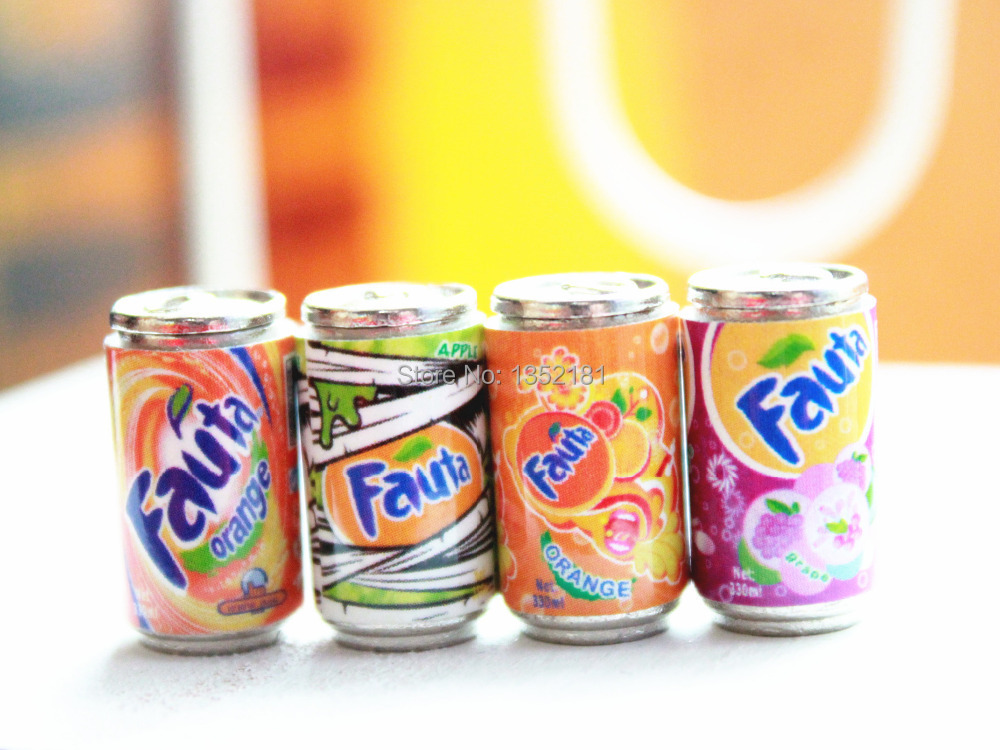 1:12 Cute Dollhouse Miniature MINI Cans Beverage Soft Drink 4pcs 1109