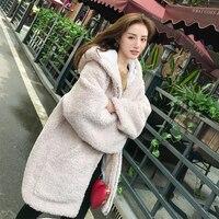 Hooded Fur Jacket Winter Korean Long Faux Lamb White Fashion Casual Faux Fur Coat