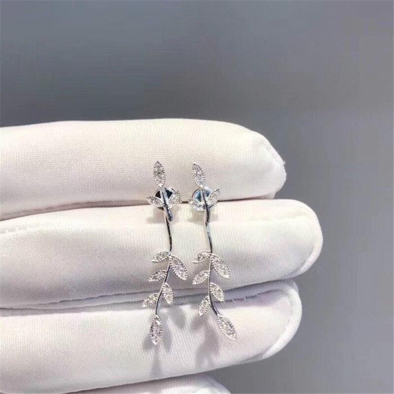 QYI 18K Earrings Women White gold Diamond Jewelry Gold For Women Gift Box Wedding Earrings in Earrings from Jewelry Accessories