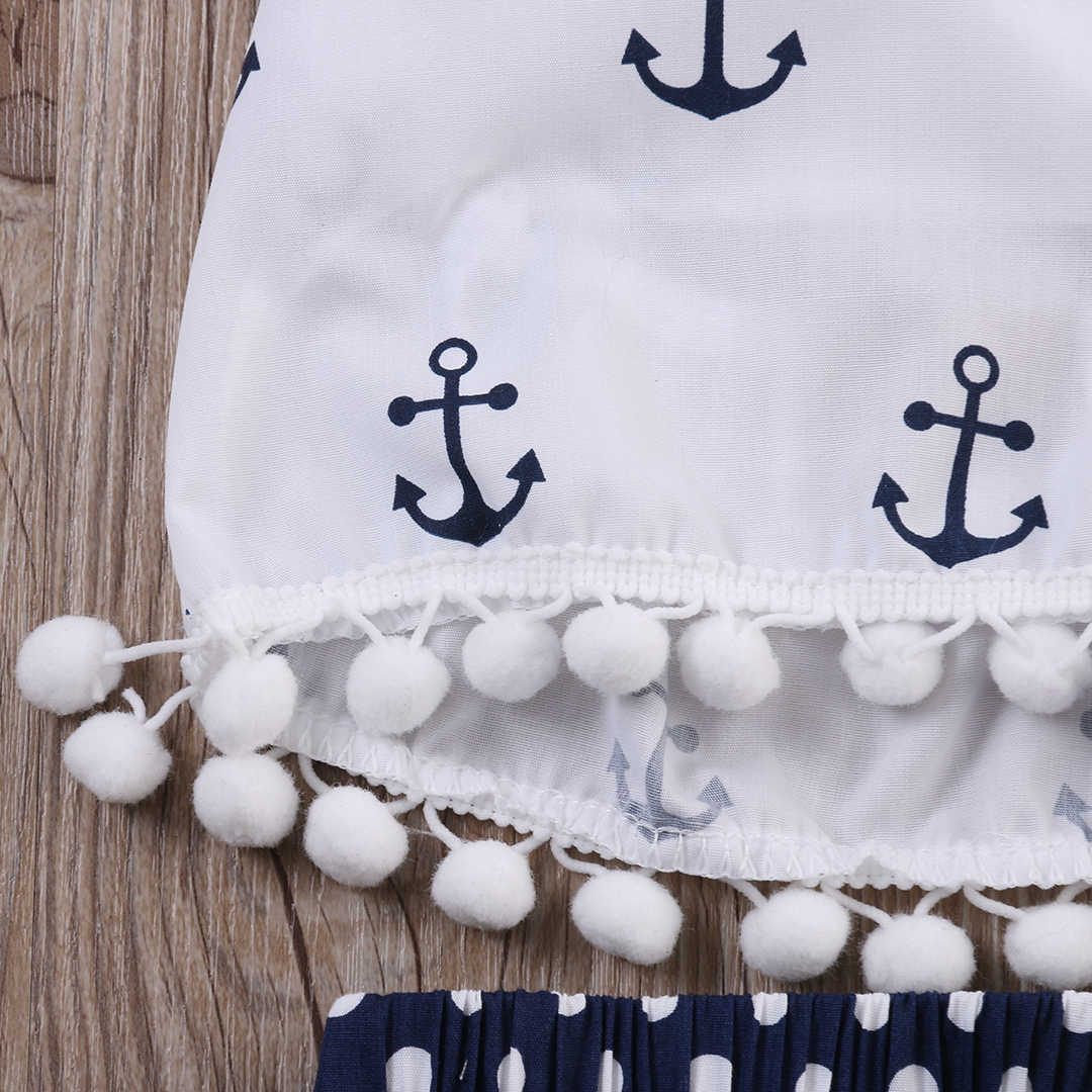 2018 Rompers Pakaian Set Jangkar Busur Terbaik + Polka Titik Celana Kepala Tali 3 Pcs Tanpa Lengan Pakaian Set Musim Panas modis Bayi Perempuan