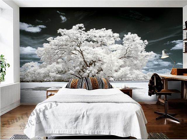 Benutzerdefinierte 3D wandbilder, schöne weiße blumen und pflanzen ...