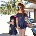 Summer Mom Daughter Matching Outfits Heart Pattern Slash Neck Mermaid Sling Beach Dress Slim One-piece Swimsuit Roupa De Banho