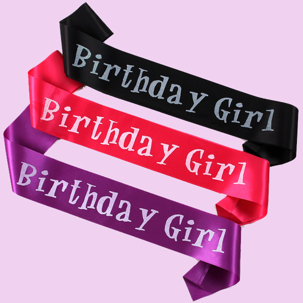 100pcs Wholesale Event Party Supplies Satin Ribbon Birthday Girl Sash Happy Gift Decorative Craft Express Fast Shipping