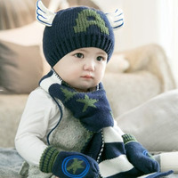 Children Hat Scarf Gloves Three Sets Of Boys And Girls Baby Thick Warm Warm Autumn And