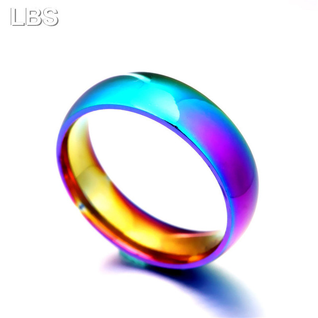 Men Women Rainbow Colorful Ring Titanium Steel Wedding Band Ring Width 2mm 4mm 6