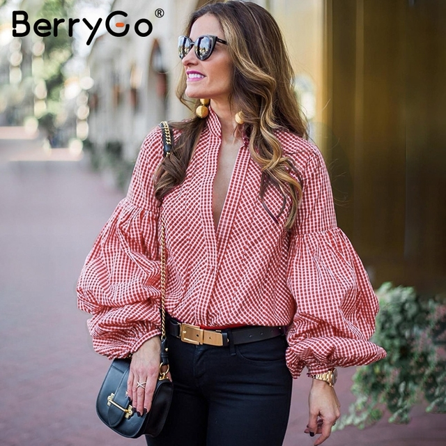 92cbac8f BerryGo Vintage puff sleeve plaid blouse shirt Causal summer women blouses  blusas 2018 Black stripe blouse tops streetwear