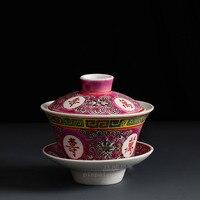 Керамическая Цзиндэчжэнь старая фабрика древняя ручная роспись Пастель большой размер долголетия Культурная революция миска с крышкой