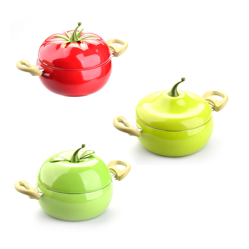 Yiwumart Non-stick Aluminum Kitchen Soup Pot For Fruits Pan Sauce Pan Boiler Tomato Shape No Fumes Household Cooking Kitchenware