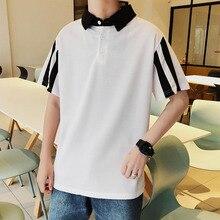 2019 new fashion Preppy Style Hit Color men polo shirt short sleeve summer tops korean harajuku Patchwork Couple clothes