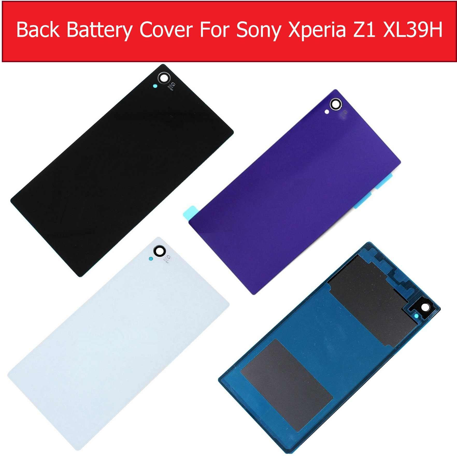 Back Battery Door Housing Glass Cover for Sony xperia Z1 L39H C6902 C6903 C6905 C6906 Glass Rear Cover case + 1piece film Free