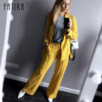Fatika 2019 Spring Autumn Bright Color Blazer Notched Button Long Sleeve Office Outerwear Lady Blazers Women Clothing