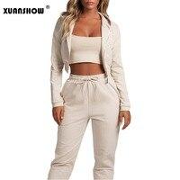 XUANSHOW Crop Top Set Women Clothes Cotton Hoodies Long Pant Two Piece Set Long Sleeve Zipper Movement Female Tracksuit Outfits
