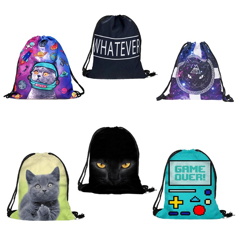 Fashion Unisex Prints Drawstring Rope Backpack Bag For Daily Travel Use Ployester Girls Kids