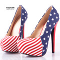 Koovan Women Pumps 2017 New American Flag High With 14cm High Heels Women Shoes Party Shoes Woman Pumps 249