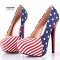 Koovan mulheres bombas 2017 nova bandeira americana alto com 14 cm sapatos de salto alto mulheres sapatos de festa mulher bombas 249
