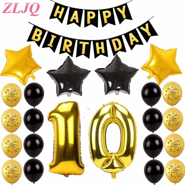 ZLJQ 27PCS 10th 20th 30th 40th 50th Birthday Party Decorations Kit Happy Banner For Ten