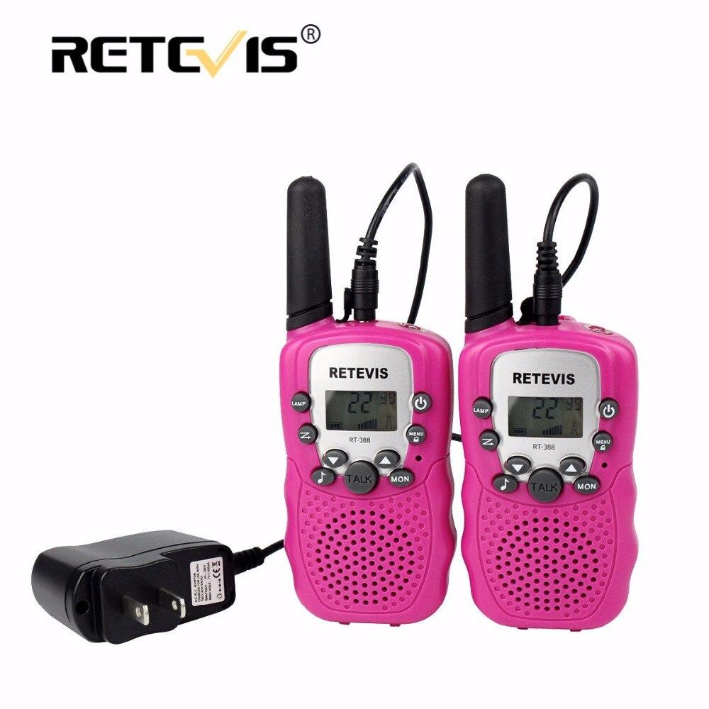 imágenes para 2 unids pc material rosa rt388 niños walkie-talkie retevis 0.5 w 8/22ch de radioaficionado portátil linterna y batería recargable