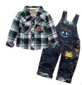 clearance boys plaid shirt+denim overall spring autumn clothing sets 2pcs boys overalls children clothes sets kids apparel suit