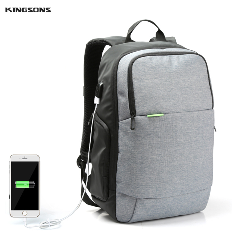 Kingsons Men Women Brand External USB Charge Laptop Backpack Anti-theft Notebook Computer Bag 15.6 inch for Business Mochilas fashional brand external usb charge anti theft backpack oxford bag for women 15 6inch waterproof laptop backpack with rain cover