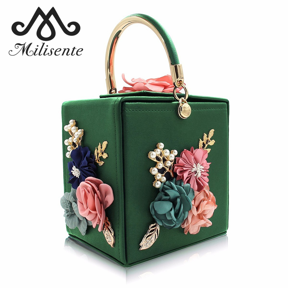 Milisente Women Evening Bag Fashion Squared Box Design Ladies Flower Handbag for Wedding Female Clutch Shoulder Messenger Bags