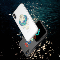 KINGXBAR For IPhone X 10 8 7 Case Mystic Series Rhinestone Decoration Lacquered Pattern PC Cover