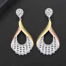 Siscathy 2019 Unique Design Big Drop Dangle Earrings For Women Luxury Bridal Engagement Wedding Statement Jewelry