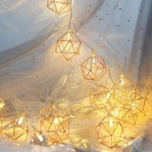 Decorative String Light Rhombus Hexagon Gold LED Lighting 20LED Battery Powered For Home Bedroom Wedding Patio Party