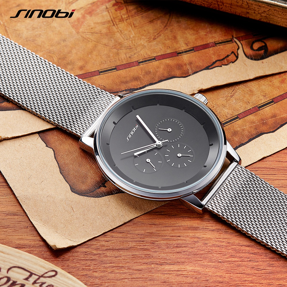 Mens Watches SINOBI Luxury Brand Business Casual Quartz Watch Men Waterproof Mesh Strap Men Wrist Watches Relogio Masculino sinobi mens quartz watches luxury brand men s fashion watch auto calendar waterproof sports wrist watches relogio masculino 8132