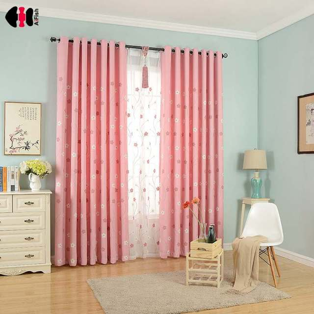 Rustic Flora Embroidered Pink Curtain Tulle Fabrics Flower ...