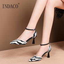 Sandals Women Summer Shoes Footwear Pointed Toe Stripe High Heel