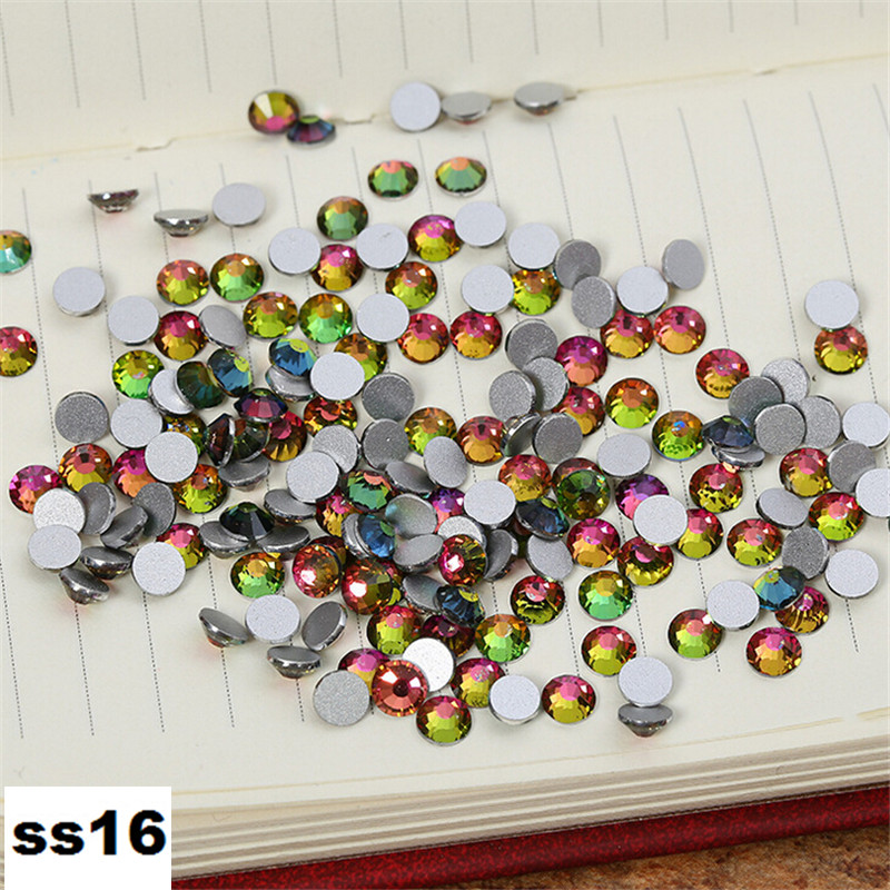 1440pcs/Lot, ss16 (3.8-4.0mm) Crystal Rainbow Flat Back Nail Art Non Hotfix Rhinestones crystal decorations for nails diy super shiny 5000p ss16 4mm crystal clear ab non hotfix rhinestones for 3d nail art decoration flatback rhinestones diy