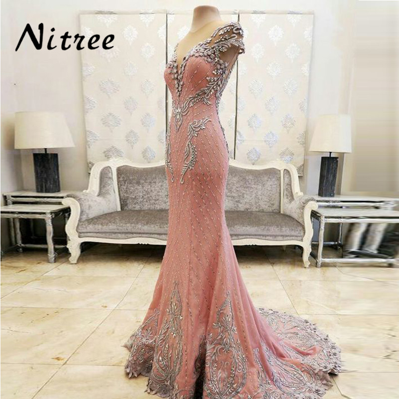 Sexy Pink   Evening     Dresses   Abendkleider Dubai Turkish Arabic Lebanon Prom   Dress   2018 Moroccan Kaftan Party Beaded Gowns Aibye