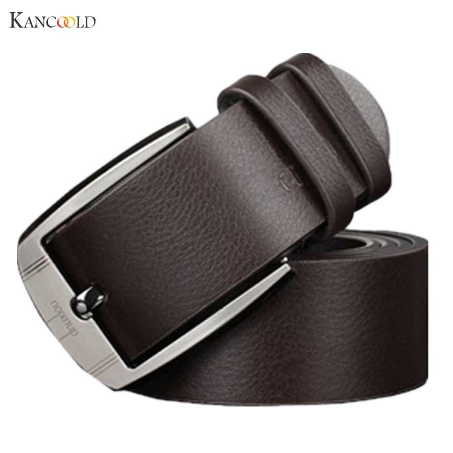 Men Metal Buckle Leather Waistband Vintage Classic Pin Buckle Belts Male Waist Strap Alloy Buckle Belt drop shipping black GBY
