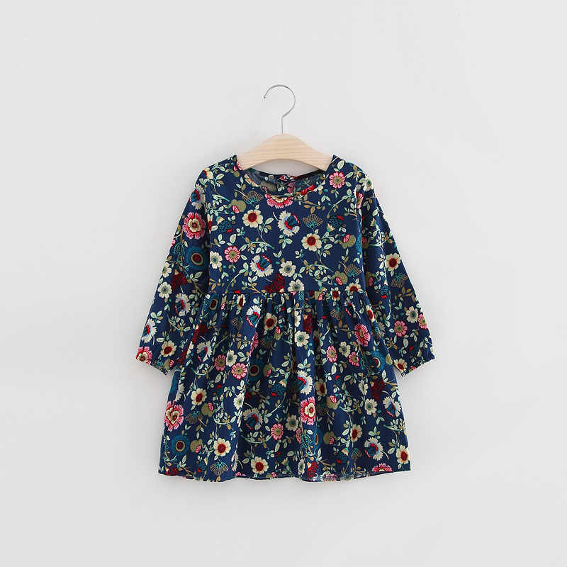 Girls cotton children's wear floral dresses children's long-sleeved dress baby girl clothes