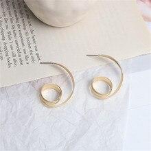 Europe America Vintage Geometric Irregular Twinning Spiral Simple Hoop Earrings Fashion Jewelry-LAF