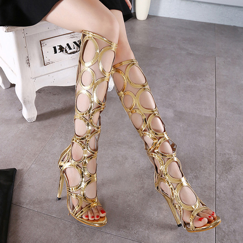 Sexy Knee High Gladiator Sandals Women Cut outs 11 cm High Heels Shoes Woman PU Leather Summer Boots Gold PLstar Cosmos 2015 new deluxe brand 100% high quality flat summer women knee high gladiator sandals genuine leather cut outs cover heel shoes