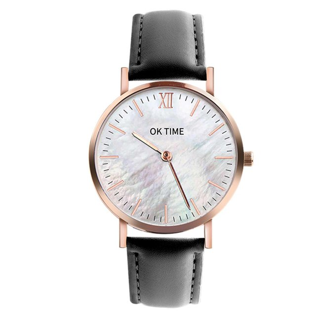 Fashion Seashell 36mm Workmanship Classic Big Dial Leather Colorful Strap Women