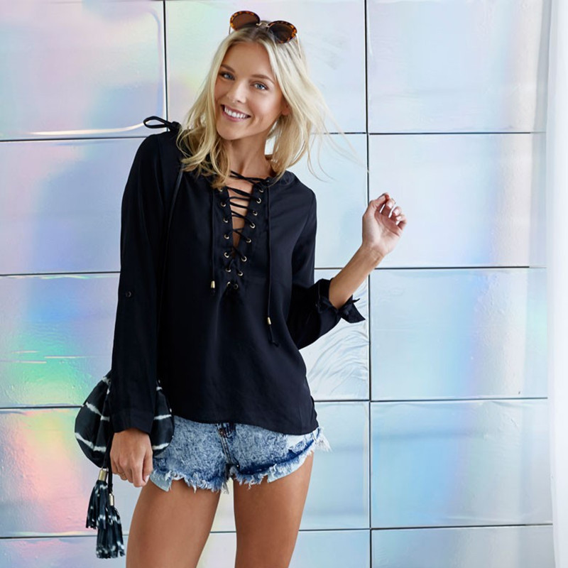 Casual V-neck Women Summer Top and Blouses Black Blue Solid Color Female Shirt