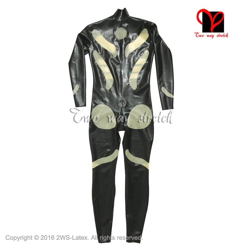 Sexy cat suit long sleeves tims front zipper zentai Rubber catsuit ... f112958c8