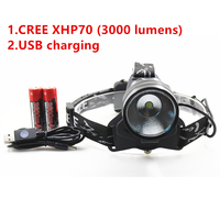 2018 USB Rechargeable 3000 Lumens LED CREE XHP70 30W headlamp headlight Head Lamp Flashlight 18650 Battery